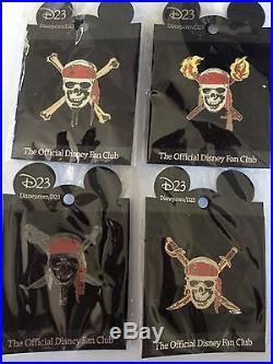 4 D23 Disney Archives Pins Pirates of the Caribbean Full Set Skulls Black Pearl