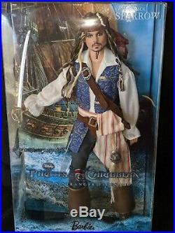 Captain Jack Sparrow Barbie Doll Pirates of the Caribbean Ken Johnny Depp NRFB