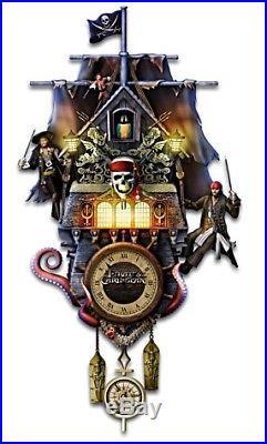 Disney Pirates Of The Caribbean Illuminated Bradford Exchange Cuckoo Wall Clock