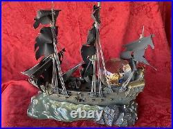 Disney Pirates of the Caribbean Black Pearl ship snowglobe light up