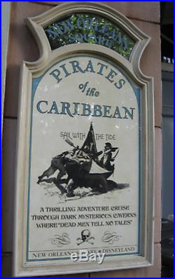 Disneyland Pirates Of The Caribbean Plaque 1967 Attraction 50th Sign Prop POTC
