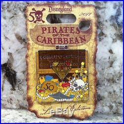 Disneyland Pirates of the Caribbean 50th Anniversary Treasure Chest Pin Set of 5