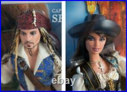 Pirates Of The Caribbean Barbie Lot + Necklace Jack Sparrow Angelica Johnny Depp
