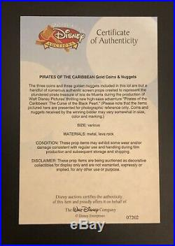 Pirates Of The Caribbean Black Pearl 3 Coins & 3 Nuggets Movie Prop Disney COA