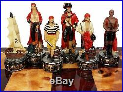 Pirates Vs Royal Navy Pirate Chess Set W 18 Cherry & Burlwood Color Board