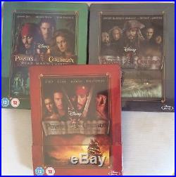 Pirates of the Caribbean 1+2+3 Blu-ray 3 Zavvi Steelbook NEU/NEW Ton DEUTSCH OOP
