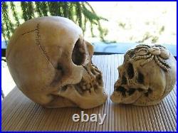 Vintage Randotti Large Skull # 817 & Spider Skull # 892 Both Glow In The Dark